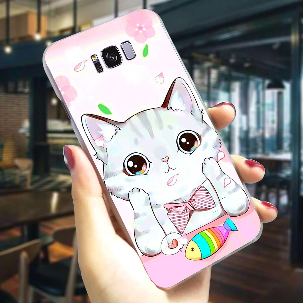 Cute Cat Meow Hard Cover for Samsung Galaxy A5 2018 Print Phone Case A30 A40 A50 A70 A3 Cases Back
