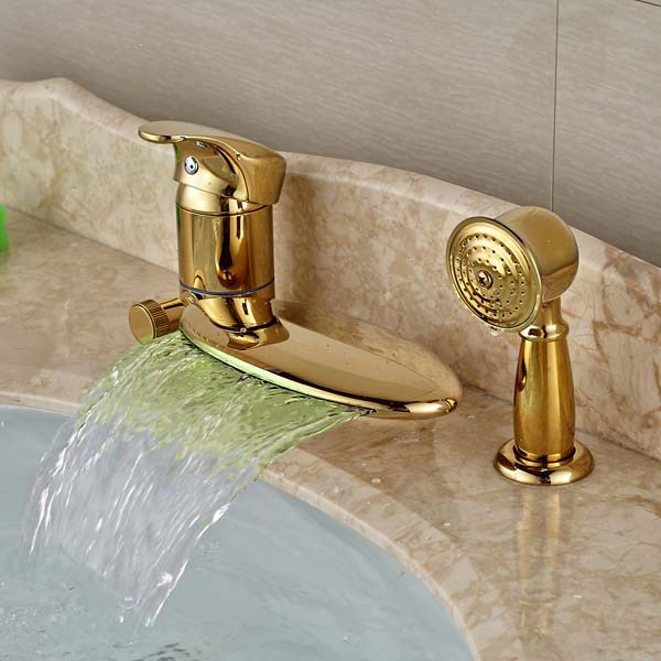 Deck Mounted LED Waterfall Golden Faucet Bathroom Tub Faucet Diverter 3 PCS Mixer Tap