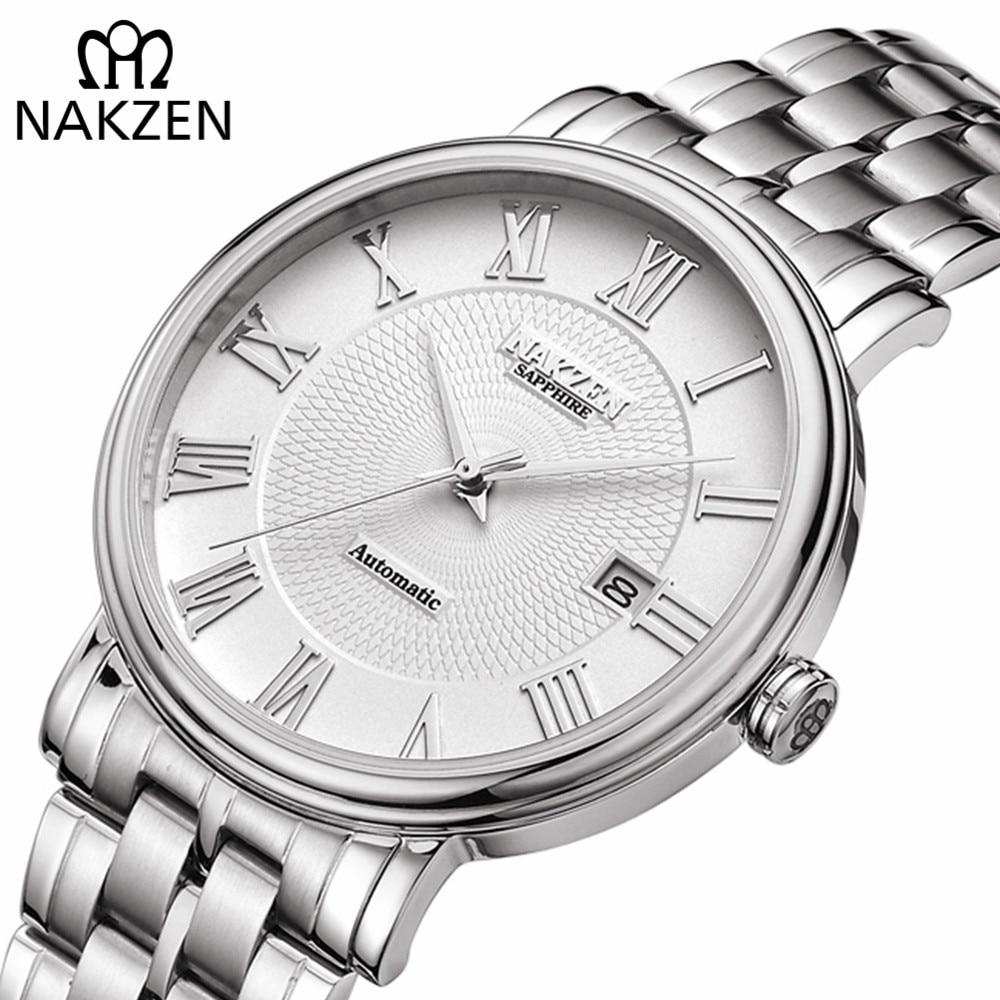 NAKZEN мужские классические автоматические механические часы брендовые роскошные мужские наручные часы из нержавеющей стали часы мужские ча...