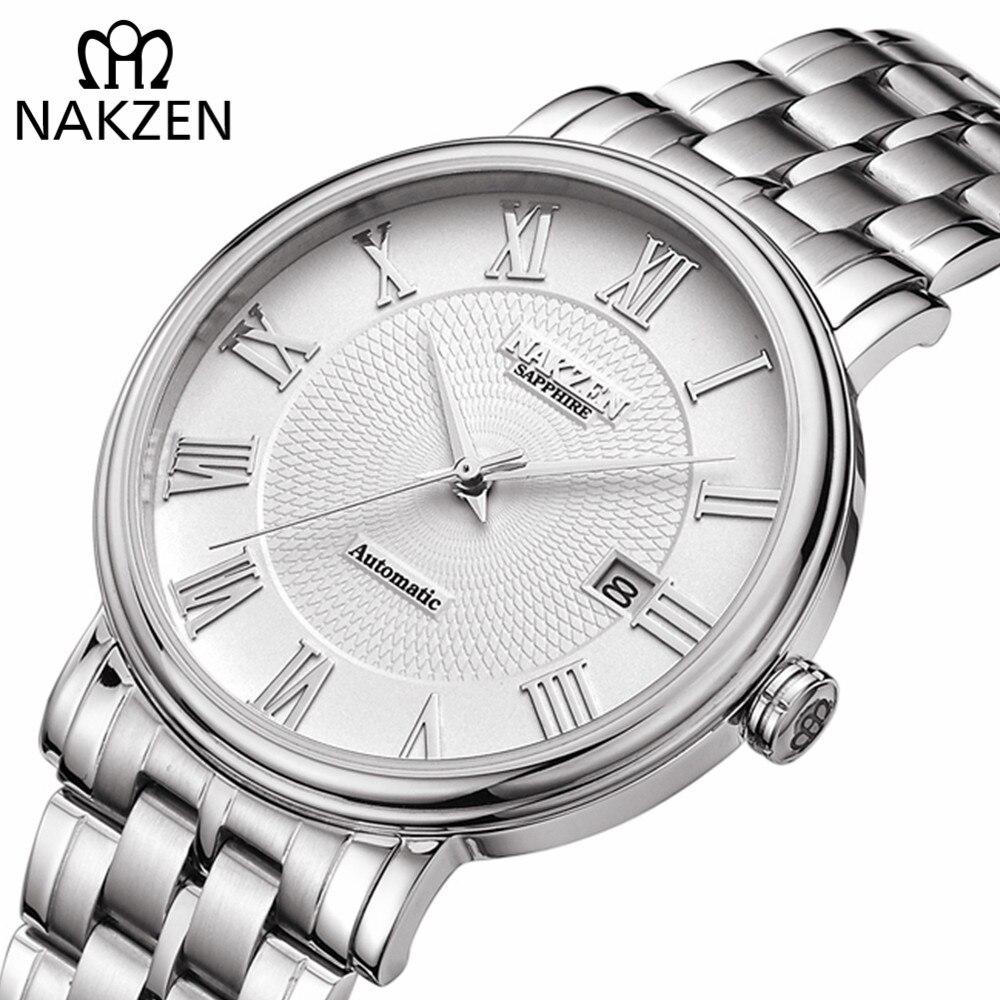NAKZEN Männer Klassische Automatische Mechanische Uhren Marke Luxus Mann Edelstahl Armbanduhr Uhr Relogio Masculino Miyota 9015-in Mechanische Uhren aus Uhren bei  Gruppe 1