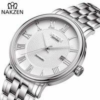 NAKZEN Mannen Klassieke Automatische Mechanische Horloges Merk Luxe Man Rvs Horloge Klok Relogio Masculino Miyota 9015