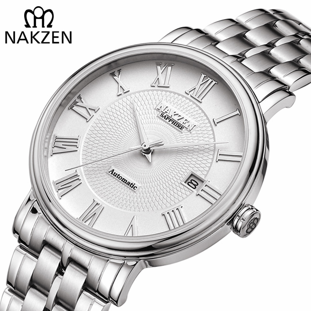NAKZEN Men Classic Automatic Mechanical Watches Brand Luxury Man Stainless Steel Wristwatch Clock Relogio Masculino Miyota 9015
