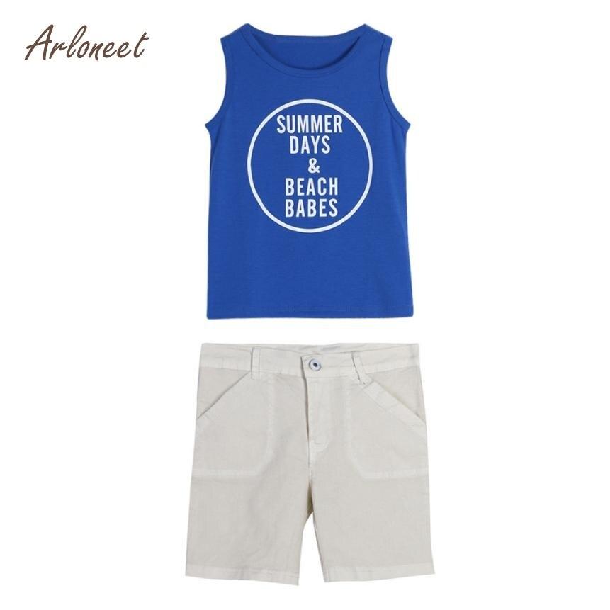 ARLONEET Cute Boy 1Set 2018 Summer Kid Baby Boys Letter Print Vest T-shirt Short Pants Clothes Outfits Set Dropshippig Fre28