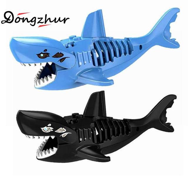 3D Tubarão Tubarão Montados Brinquedos Tridimensional Santo Zombie Jack Sparrow Piratas Do Caribe LEGOINGS Hulk Brinquedos Para Criança