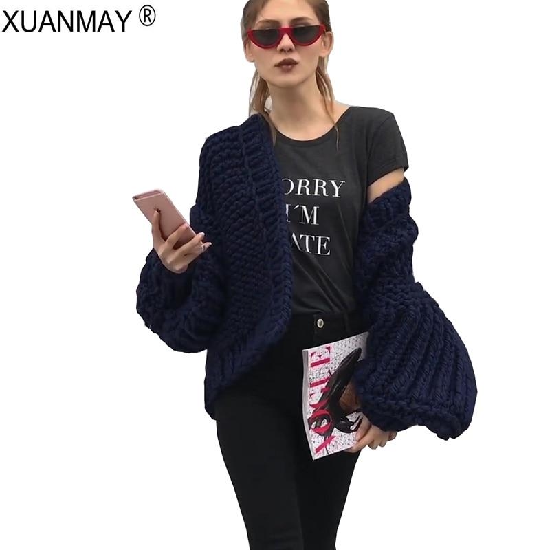 2018 Winter Women s Black thick Cardigan Sweater 5XL Handmade Crochet  braided Sweater Streetwear Gray lady Sweater Cardigan a5631b0b9