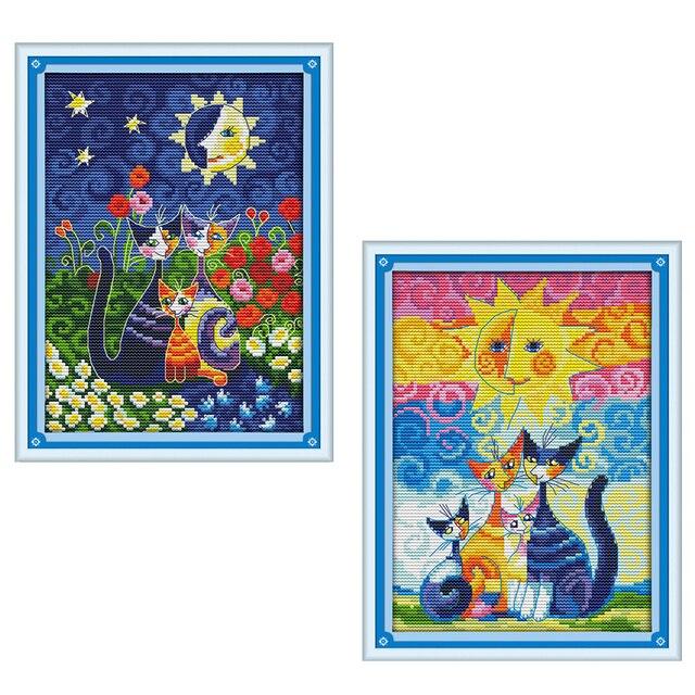 Joy Sunday cross stitch kits Cat sun carton diy DMC14CT11CT cotton fabric livingroom baby room kid toy painting factorywholesale