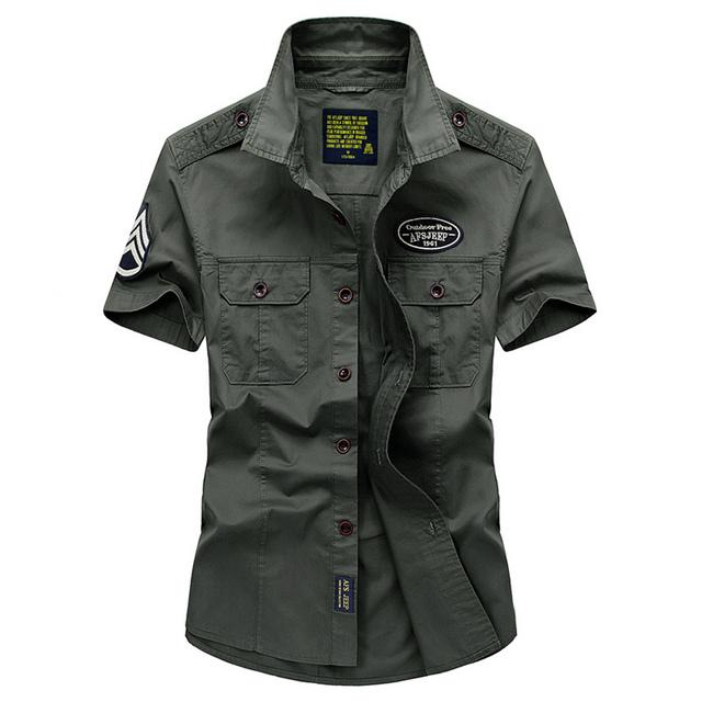 Alta qualidade 2017 Europa verão dos homens militar marca ocasional curto manga da camisa do homem 100% algodão puro camisas cáqui exército verde topos