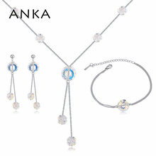 ANKA simple love round crystal jewellery sets necklece earrings and bracelet made with Crystal from Swarovski for women 125117