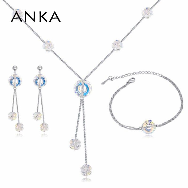 Ensembles de bijoux en cristal rond ANKA simple love boucles d'oreilles et bracelet pour femmes en cristal d'autriche #125117