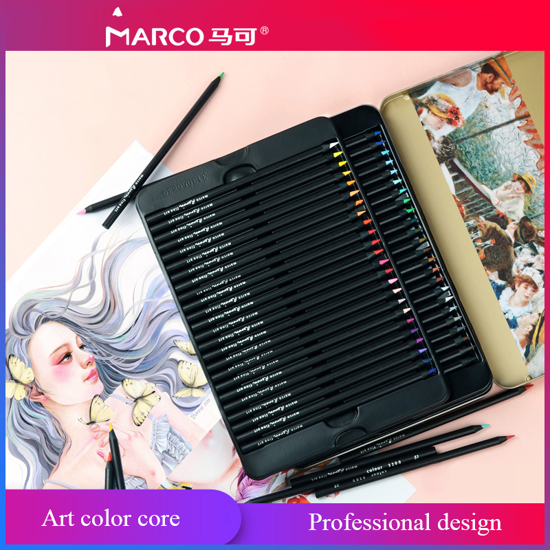 Marco 3200 Renior Black wood Oil Based Colored Pencil polychromos Drawing Art Professional Pencils Artist Painting with tin box цена