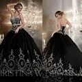 Черные Готические Свадебные Платья Бальное платье Вышивки Свадебное Платье С Длинным Свадебное Платье узелок Вернуться Vestidos de Noiva 2015 Louisvuigon