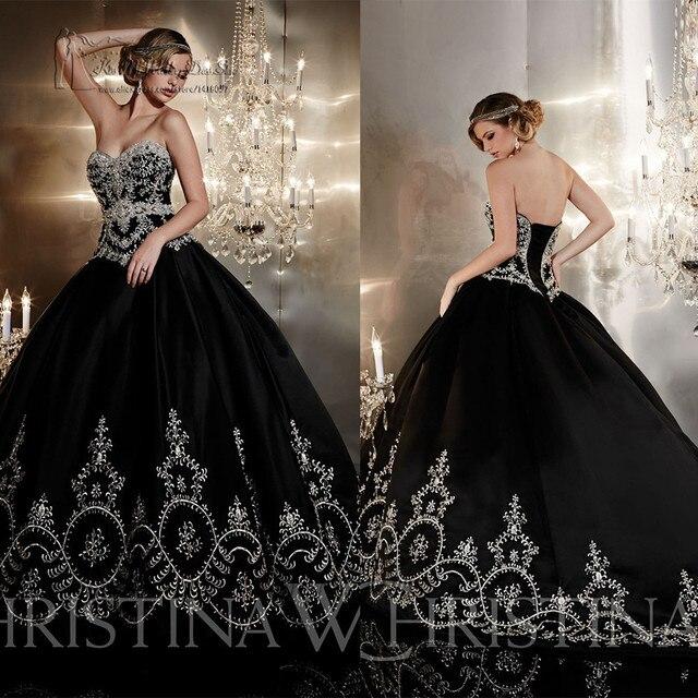 Black Wedding Dresses: Black Gothic Wedding Dresses Ball Gown Embroidery Wedding
