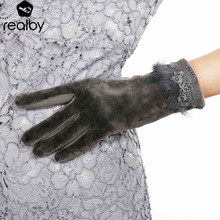 REALBY Femme Rabbit Fur design Gloves For Winter Gloves Brand Mitten Touch-screen Women Gloves Female Gloves warm Gloves 53007