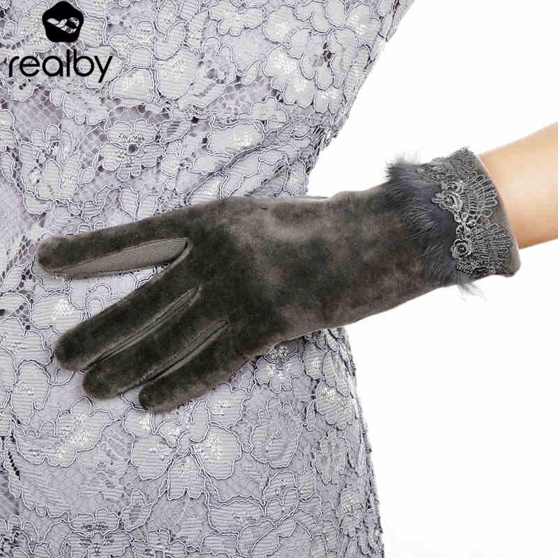 REALBY Femme Rabbit Fur design Gloves Fos