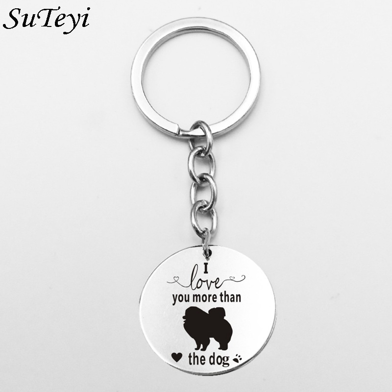 Suteyi Round Stainless Steel Canaan Dog Keychains Silver Color I Love You More T