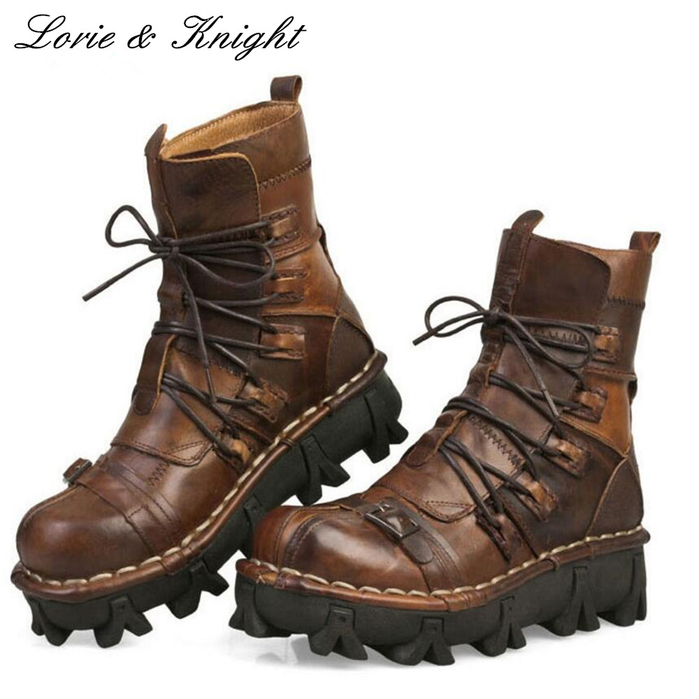 Fashion Cowhide Genuine Leather Military Uniform Boots Mid-calf Platform Motorcycle Martin Boots Steam Punk Combat Boots
