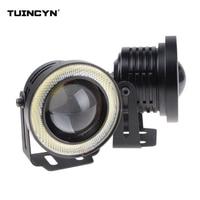TUINCYN 2pcs High Power 3.5 Projector Universal White LED Fog Light Ice Blue COB Halo Angel Eye Rings DRL Driving Lamp Bulbs