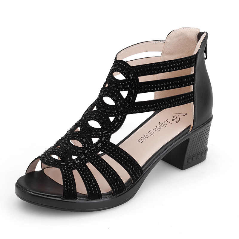 91b0d0d0ad3d00 Low-heeled middle-aged women s shoes in summer comfortable with Roman shoes  non-