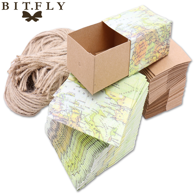 10pcs Novelty World Map Vintage Kraft Paper Candy Box Gift Bag Wedding Gift Baby Shower Favors Birthday Party Christmas Supply