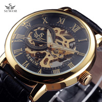 SEWOR 3d Logo Design Luminous Hollow Engraving Black Gold Case Leather Skeleton Mechanical Watches Men Luxury