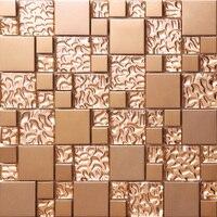 Розовое золото из нержавеющей стали металл мозаика стеклянная плитка кухня щитка ванная комната фон декоративно прикладного искусства моз