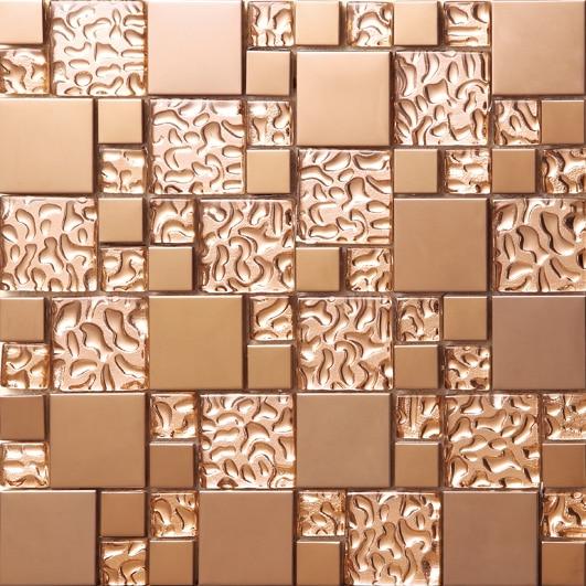 Rose gold Stainless steel metal mosaic glass tile kitchen backsplash bathroom background decorative art mosaic wall tile,SA073 9