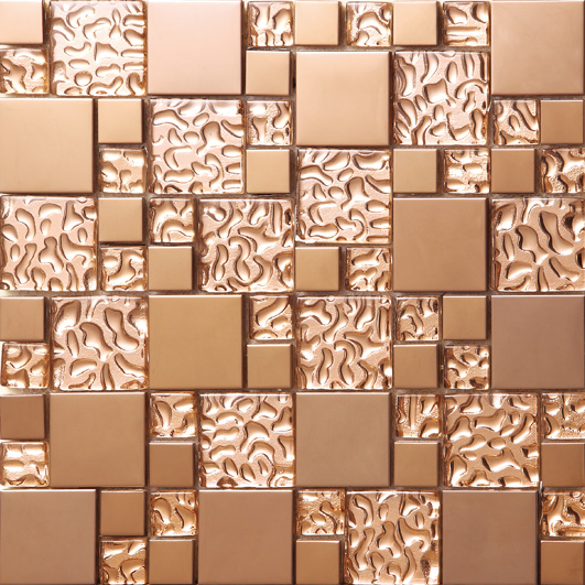Фото Rose gold Stainless steel metal mosaic glass tile kitchen backsplash bathroom background decorative art mosaic wall tile,SA073-9