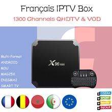 [Frete Grátis] IPTV Francês X96mini 4 k Android 7.1 Caixa De TV com 1000 + Francês Bélgica Morocoo Árabe IPTV Amlogic S905W Set Top caixa