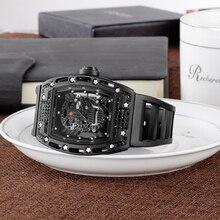 Hontre homme Hommes montre Quartz montre militaire Silicone bracelet vin baril cadran visage montre pour hommes diamant 3D cadran givré véritable montre de sport