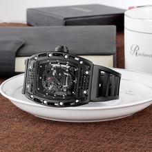 Reloj Hombre Reloj de cuarzo para hombre, reloj de pulsera militar de silicona con esfera de barril de vino y Diamante, reloj deportivo genuino con esfera esmerilada 3D
