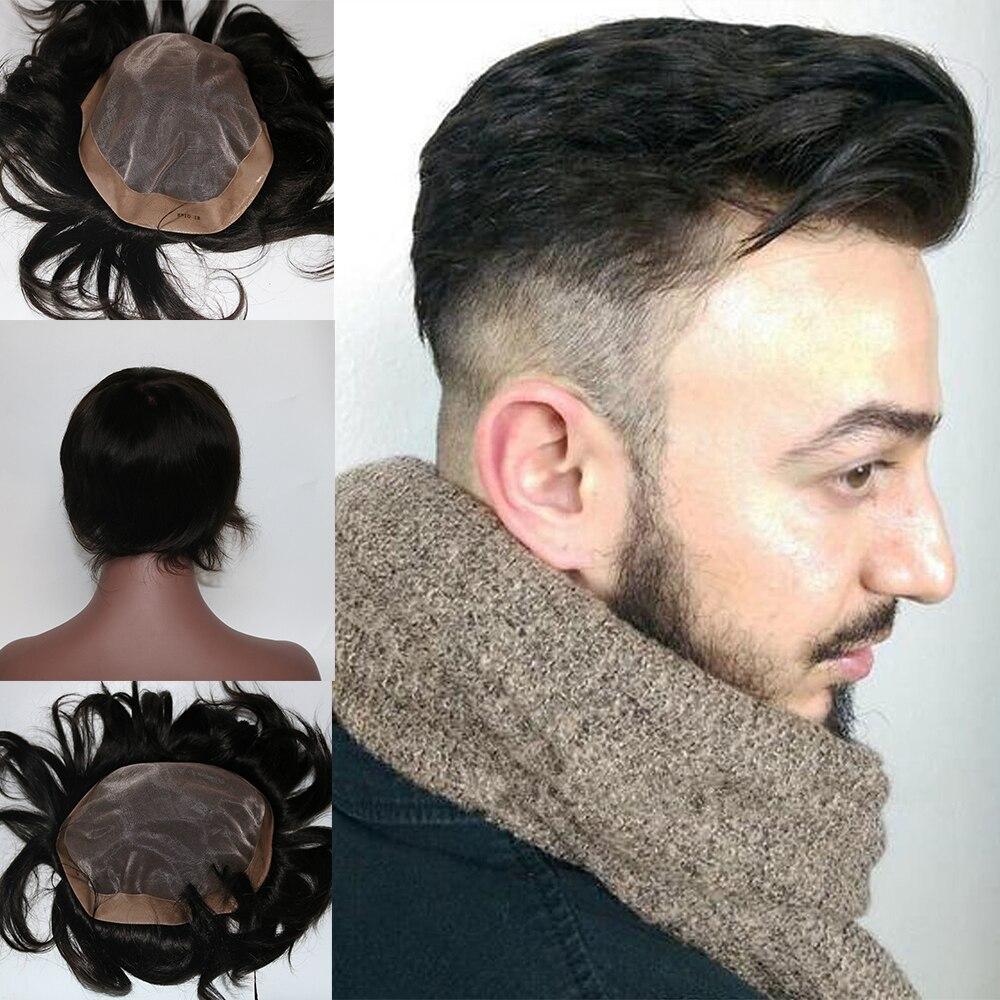 Eversilky моно база натуральные волосы для мужчин's парик заменить мужчин t кусок Бесплатная Стиль 8x10 от черный # 1B