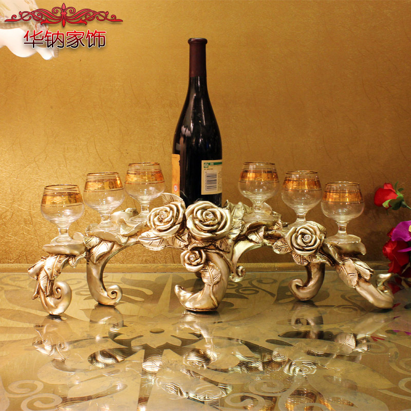 2016 Top Fashion Promotion Home Decoration Accessories Furnishing Rose Wine Rack Wedding Gift Of Resin in Figurines Miniatures from Home Garden