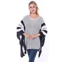New Autumn Style Woman Fashion Poncho Bouncy Sweater Plus Size Pullover Women Shawl Stripe For Lady Coat