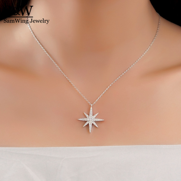 2017 elegant 925 sterling silver star pendant necklace high quality 2017 elegant 925 sterling silver star pendant necklace high quality cz stone star necklace jewelry in chain necklaces from jewelry accessories on aloadofball Images