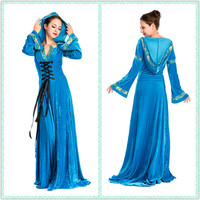 Women Adult Medieval Party Xmas Long Blue Dress Hooded European Style M L XL