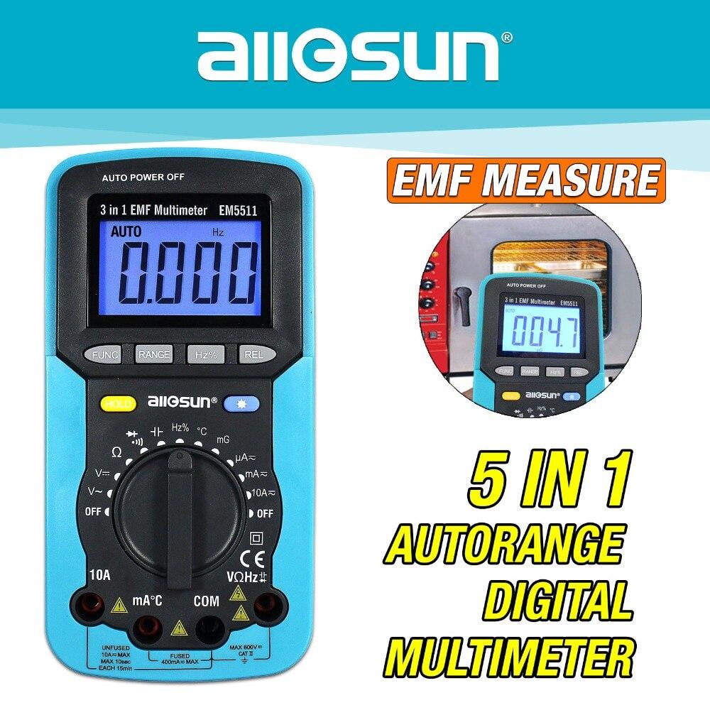 all-sun 3in1 Digital Multimeter Voltmeter Ammeter Ohmmeter DC AC EMF Multimeter Automotive Tester EM5511 digital multimeter ac dc voltmeter ohmmeter electrical multi tester dt 830b