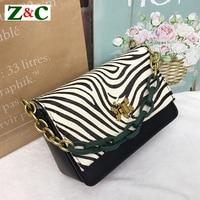 Newest 2018 Genuine Leather Women Handbags Zebra Leopard Pattern Chain Shoulder Bags Crossbody Bags Lady Clutch Purse Sac A Main