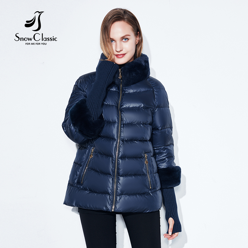 2018 Women's Coat Warm Winter Jacket Real Rabbit Fur Collar / Sleeve Removable Windbreaker Plus Fat Jacket SnowClassic