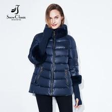 Зимние пальто куртки женщин теплые 2017 женщин Зимние пальто реального кролика меховой воротник / рукав съемные куртки Горячие продажи SnowClassic