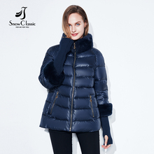 Winter season coat jacket females warm 2017 female Winter Coats Real Rabbit Fur Collar/sleeve removable Jackets Hot sale SnowClassic