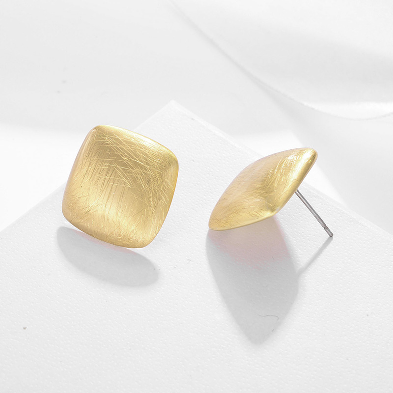 Shineland Geometric Square Stud Earrings Gold Silver Color Distressed Small Earrings Women Fashion Jewelry Statement Earring