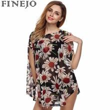 Finejo d'été nouveau T de Chemises plus la taille lâche femmes t-shirts, en mousseline de soie o-cou tops pour femmes, translucide mode femme vêtements m-xl(China (Mainland))