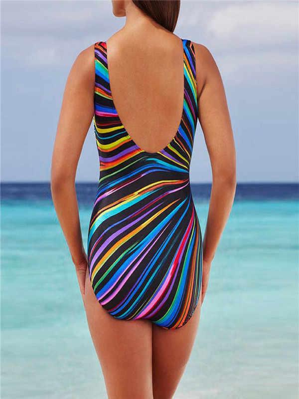 Traje de baño 2019 para mujer traje de baño acolchado Monokini SwimwearSexy Kostium Kapielowy Push Up Bikini # D