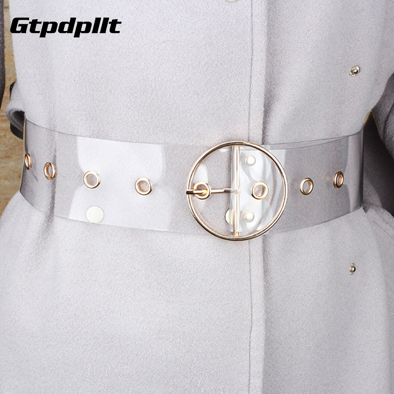 Gtpdpllt Fashion Transparent Pvc Women Belt Gold Eyelet Buckle Strap White Waist Belt 2019 New Casual Waistband Accessories Lady