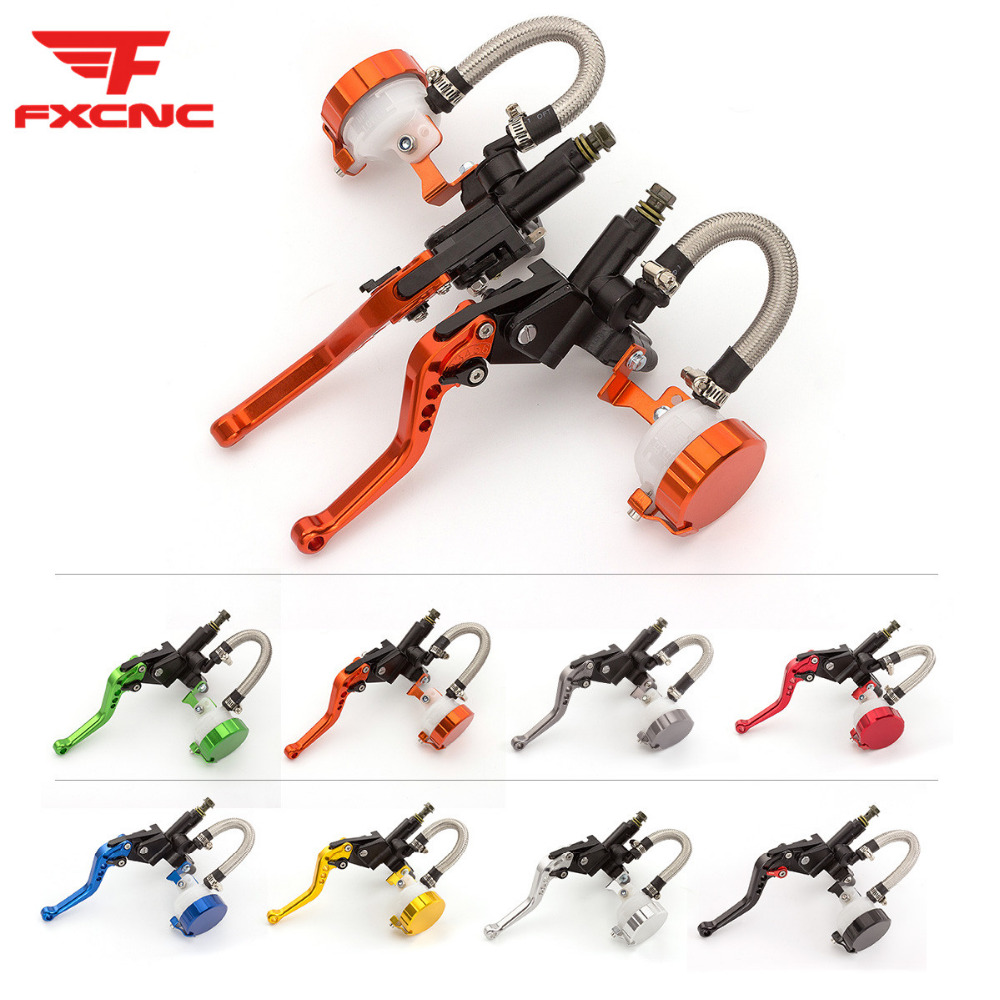 Orange Adjustable Universal Motorcycle Hydraulic Clutch Brake Pump Master Cylinder Set For 7 8 Handlebar 125cc