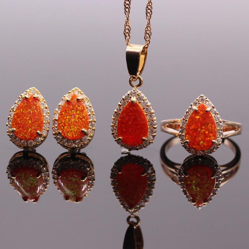Jewelry-Sets Opal Orange Opal-Necklace Rings/earrings Women for Synthetic 8x12mm
