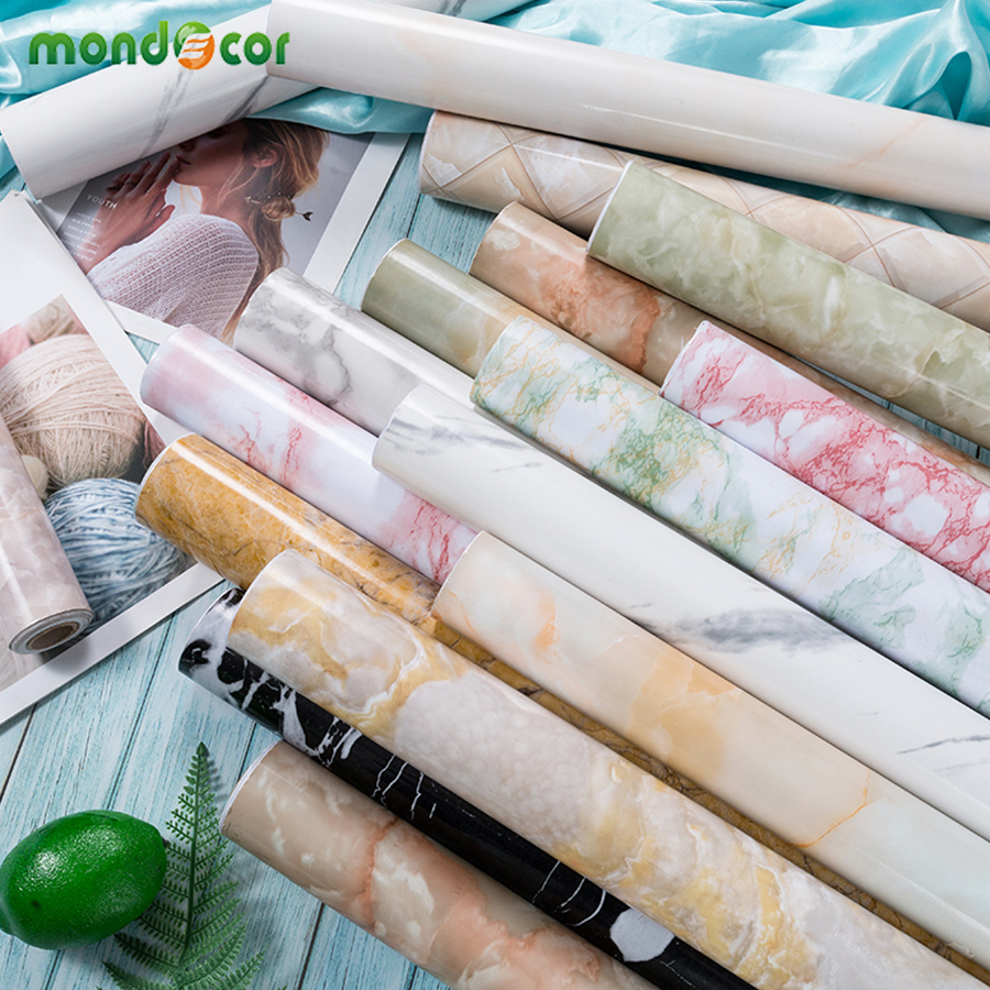 Thick Waterproof PVC Marble Wallpaper Roll For Kitchen Countertop Furniture Renovation Sticker Vinyl Self-adhesive Contact Paper
