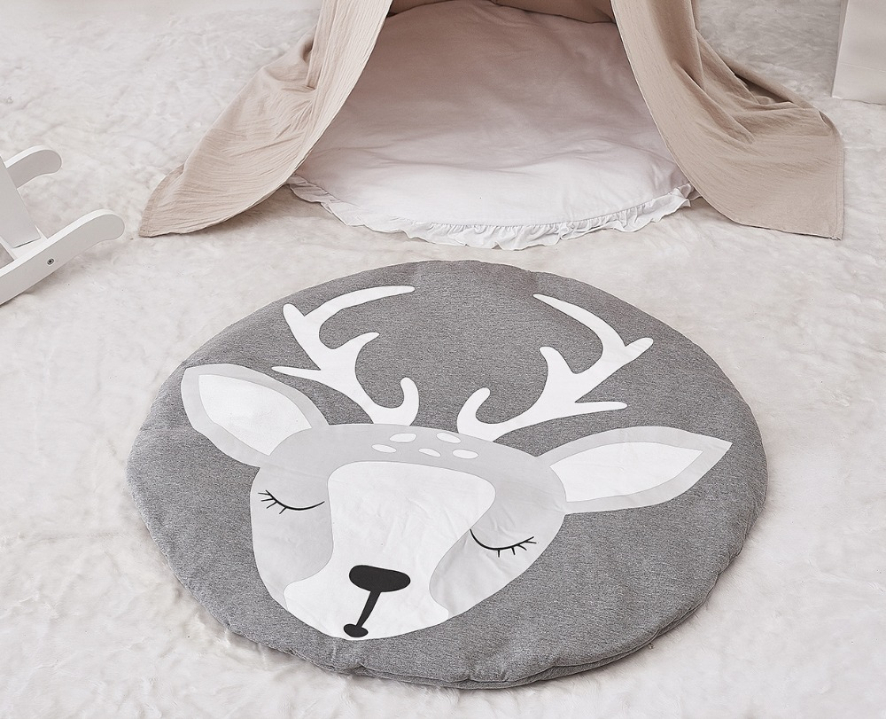 Kids Play Mat Cotton Round Carpet Rugs Mat For Gym Cotton Deer Crawling Blanket Floor Carpet For Kids Room Decor Babyshower Gift