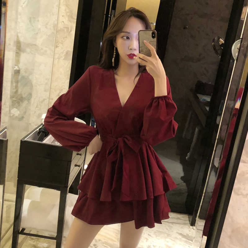 ead3417b40a Sexy Women s Jumpsuits Summer Female Fashion Solid Color Loose V Neck Full  Sleeve High Waist Rompers