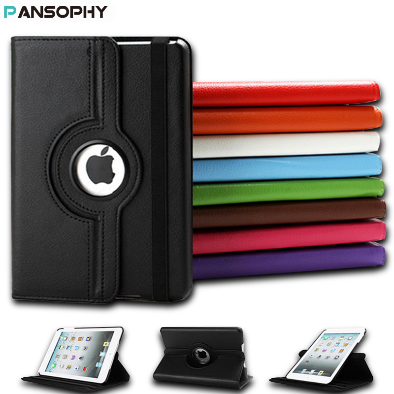 360 Degree Rotating Stand Case For iPad Mini 1 2 3 Case PU Leather Smart Flip Cover For Funda iPad Mini Case Cover Sleep/Wake protective pu pc flip open case w stand auto sleep for retina ipad mini black